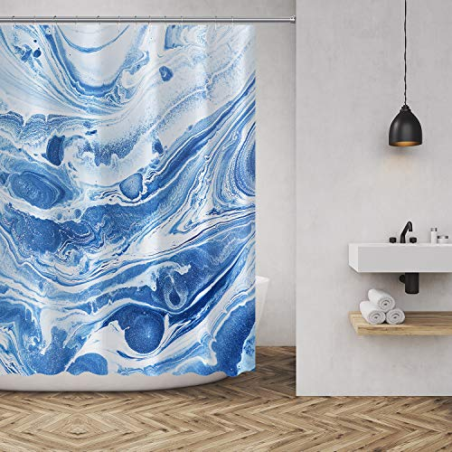 MuaToo Ocean Blue Marble Shower Curtain Abstract Watercolor Art Polyester Fabric Bathroom Decor Sets with Hooks 72 x72 Inches, Blue White