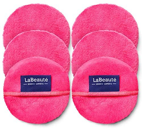 LaBeauté Abschminkpads (6 Stück), Mikrofaser, waschbar und wiederverwendbar, Gesichts-Reinigungspads, Make Up Entferner Pads (Ø 9 cm, Pink)