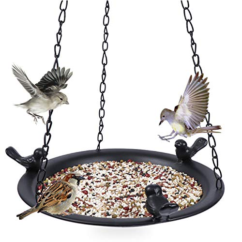 Kimdio Bird Feeder Hanging Tray, Seed Tray for Bird Feeders/Bird Bath, Outdoor Garden Backyard Decorative Great for Attracting Pet Hummingbird Feeder (Black)