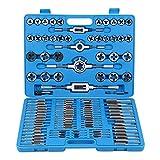 Ridgeyard 110 Pcs Tap & Die Set TAP y Die Métrico Taps and Dies Herramienta Acero Carbono Hilo Cónico Taladro Kit M2 a M18 con Estuche Azul