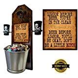 """Ltd Edition -""""Liquor Before Beer."""" Bottle Opener and Cap Catcher with 2 Liquor is Quicker Shot Glasses - 3/4"""" thick Solid Pine 15 1/2"""" Tall - Cast Iron Opener & Galvanized Bucket"""