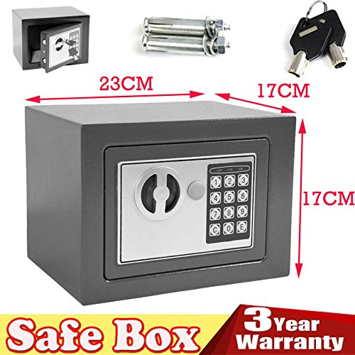 Electronic Digital Safe box 20 x 17 x 17 cm 4.6l cassetta di sicurezza in acciaio con 2 tasti di backup override 2 bulloni installazione mini Compact Office Home Cash Money gioielli di stoccaggio (grigio)