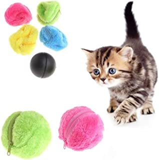 yongy Dog Toy Balls Magic Electric Cat Roller Ball Toy Pet Toy Automatic Roller Plush Ball 5pcs/Set