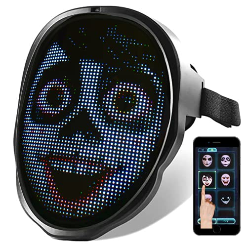 Face Transforming LED Mask – Electronic Changing Facial Cover with Bluetooth App, Programmable & Customizable Lighting Effect for Costume, Rave, Birthday Party, Music Festival, Halloween