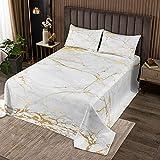 Goldener weißer Marmor gedruckt Tagesdecke 240x260cm Frauen Marmormuster Bettüberwurf für Erwachsene Männer Abstrakte Kunst Steppdecke Einfaches modernes Design
