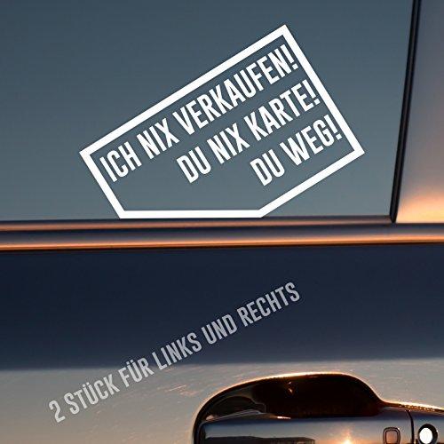 Auto Aufkleber in deiner Wunschfarbe Ich nix nix Karte! Du Weg! 2 Stück Rechts & Links je 9x5,7 cm Sticker
