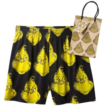 Dr. Seuss Grinch Men's Boxers with Gift Bag - Black/Green, Size Large