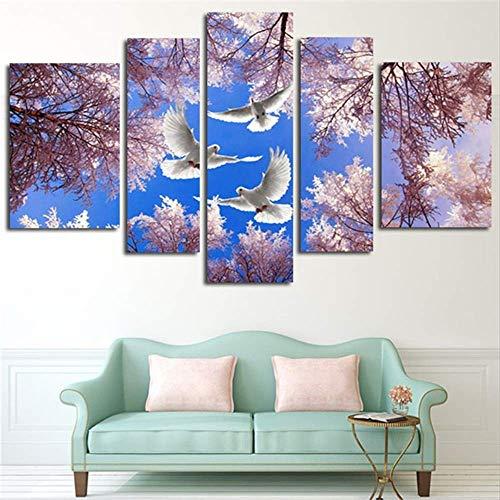 HD gedrukte modulaire afbeelding groot canvas schilderij voor de slaapkamer 5 panelen kersenbomen en duiven landschap Home Wall Art Decor 30x40cmx2,30x60cmx2,30x80cmx1 Met frame.