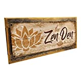 Homebody Accents Framed The Zen Den Lotus 6'x16' Metal Sign, Wall Décor for Inspirational