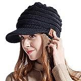 Women Bluetooth Newsboy Cabbies Beret Winter Beanie Warm Cotton Painter Crochet Knit Visor Hats with Brim Skull Peak Cap Black