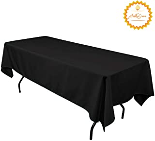 SilkLove Tablecloth - 60 x 102 Inch -Black-Rectangular Polyester Table Cloth, Wrinkle,Stain Resistant - Great for Buffet Table, Parties, Holiday Dinner & More