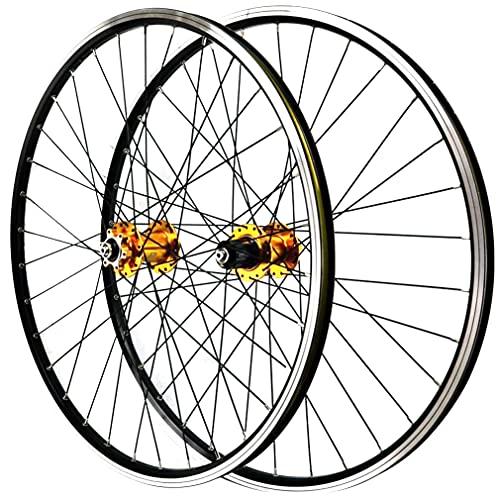 LSRRYD 26/27.5/29 Pulgadas Bicicleta Montaña Ruedas Juego Freno Disco Freno V MTB Llanta Liberación Rápida Rueda 32H Buje 7/8/9/10/11/12 Velocidad Cassette 2200g (Color : Gold, Size : 27.5'')