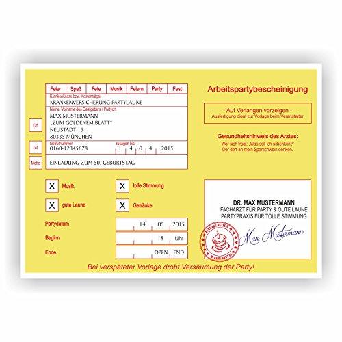 Einladung Krankschreibung Krankmeldung Arbeitsunfähigkeit Geburtstagskarte Arzt (50 Stück)