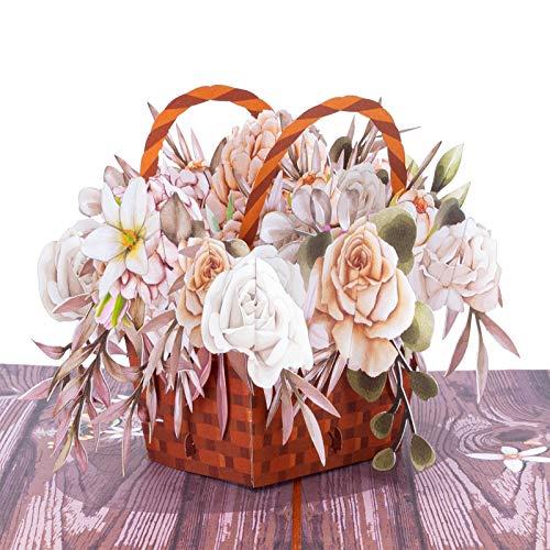 PaperLove Rustic Flower Basket Pop Up Card | Handmade 3D Popup Greeting Cards for Fall, Winter,...