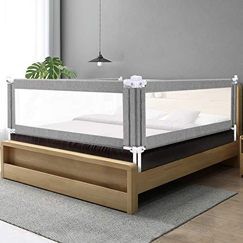 ZEHNHASE Barrera de cama para bebé 190CM, Barandilla de La Cama para Niños - Anticaídas, Altura ajustable, Fácil Instalación, gris, 1pc