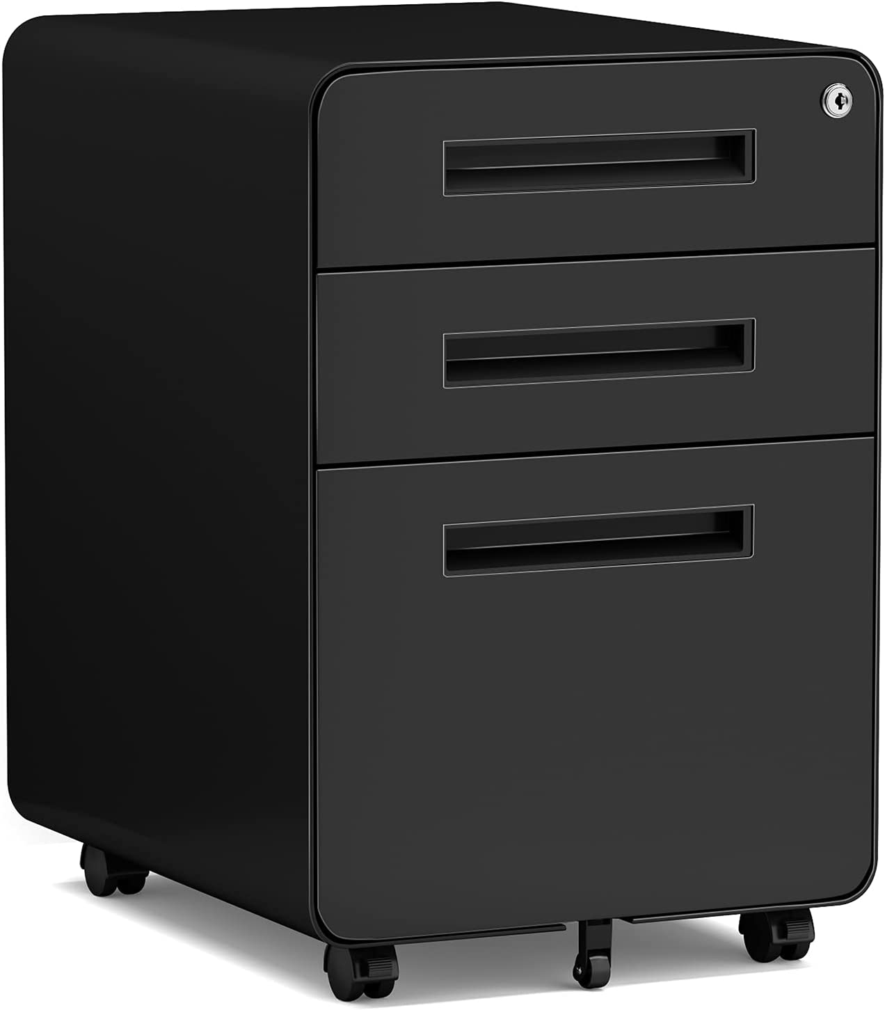 File Cabinet 3 Drawers, Mobile Filing Cabinet with Lock, Rolling File Cabinet with Keys Under Desk, Modern Black File Cabinet for Home Office with Anti-tilt Wheels, A4/Letter/Legal Size