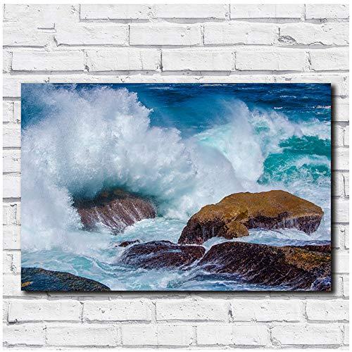 Canvas Schilderijen Golven en riffen Wall Art Picture Home Decor Woonkamer Modern 30x40cm (11.8