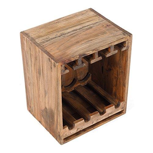 DESIGN DELIGHTS MINIBAR Cube | mit Glas & Flaschenhalter, 44x38cm (HxB), Recyclingholz | Weinregal, Beistelltisch, Couchtisch massivholz