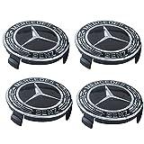 QMMYA 4×75mm Coprimozzo Centro con Logo Tappi di Cerchioni Centro per Cerchio in Lega Coprimozzi di Ricambio per Mercedes Benz Ruote,Black