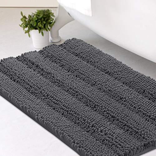 Bath Mats for Bathroom Non Slip Luxury Chenille Striped Bath Rugs 20x32 Absorbent Non Skid Fluffy...