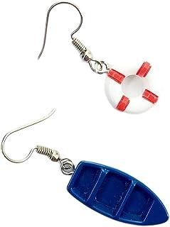 Laimons Bijou pour femme boucles doreilles pour femme ancre blanc bleu argent sterling 925