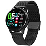 MBHB Women's Sport Watch, Fitness Tracker with Heart Rate Sleep Monitor, Waterproof Smart Bracelet for Android iOS, Black (9.1 inch)