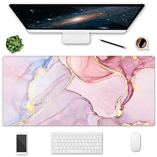 HOMKUMY Extended Gaming Mouse Pad, 35.5x15.75 Non-Slip Oversized Desk Pad Mousepad with Stitched Edges Waterproof Keyboard Mouse Mat Desk Protector for Game, Office and Home, Pink Marble