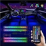 LED Lights for Car - Interior Car LED Lights Strip - Waterproof 4pcs 48 LED 2 Lines Design, Controller Lighting Kits, Multi Color Music Mode for Car Accessories, Interior Car Lights Charger, DC 12V