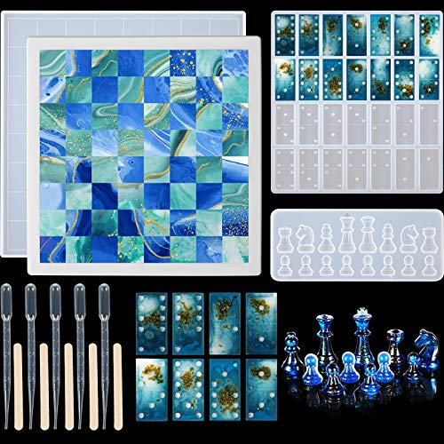 3-teiliges Schach-Silikonformen-Set, einschließlich Schachbrettharz-Form und Dominoharz-Form, 3D-Schach-Epoxid-Form und Schachharz-Gussform für Heimwerker, Basteln, Brettspiel-Zubehör