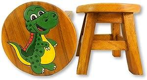 Thai Gifts Childs Childrens Wooden Stool Dinosaur Baby Rex  Tyrannosaurus Step Stool