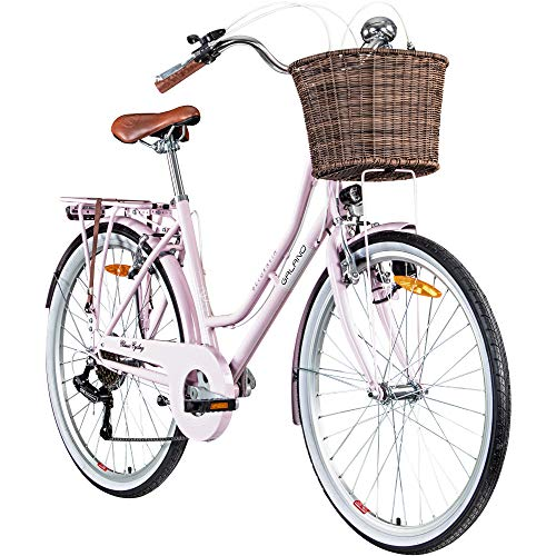 Galano 26 Zoll Cityrad Belgravia 6 Gang Damenfahrrad Mädchenrad Citybike mit Korb, Farbe:pink, Rahmengrösse:18 Zoll