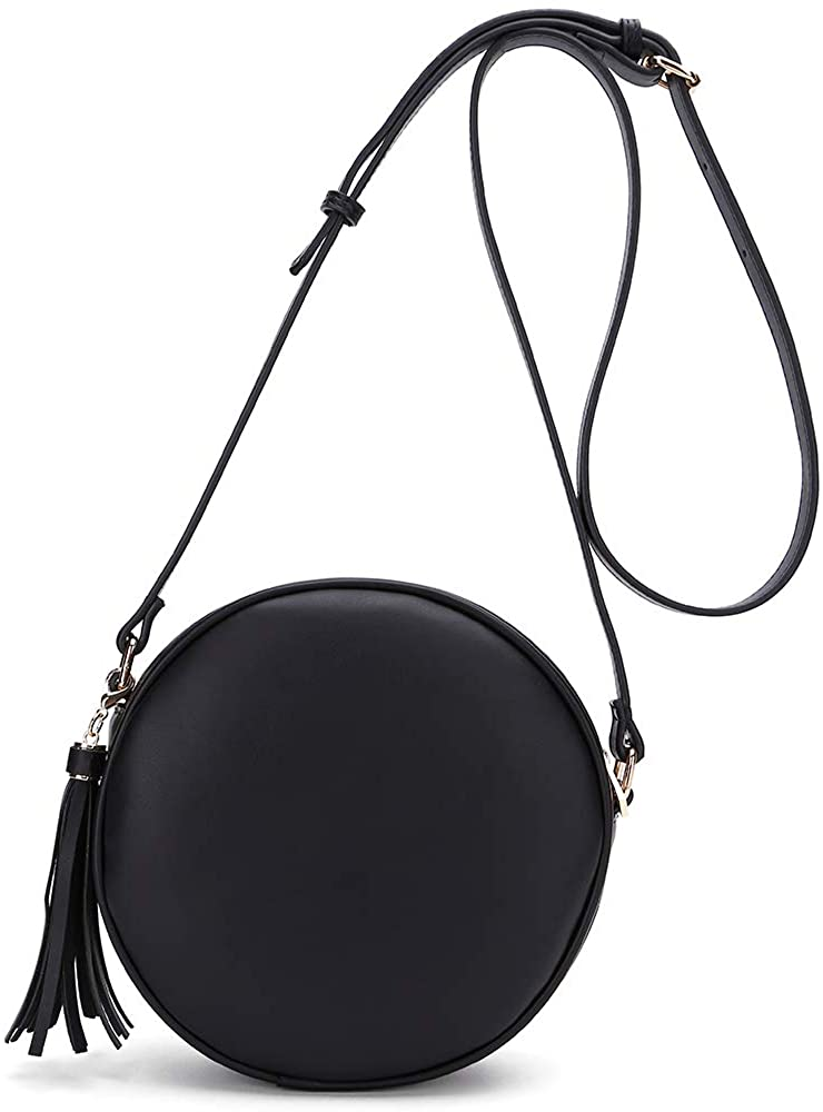CATMICOO Round Crossbody Purses for Women Circle Bag with Tassel