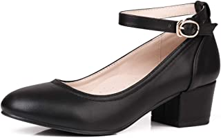 Robasiom Low Heel Chunky Heels Dress Shoes for Women, Comfortable Ankle Strap Mary Jane Style Pumps Round Toe Ladies