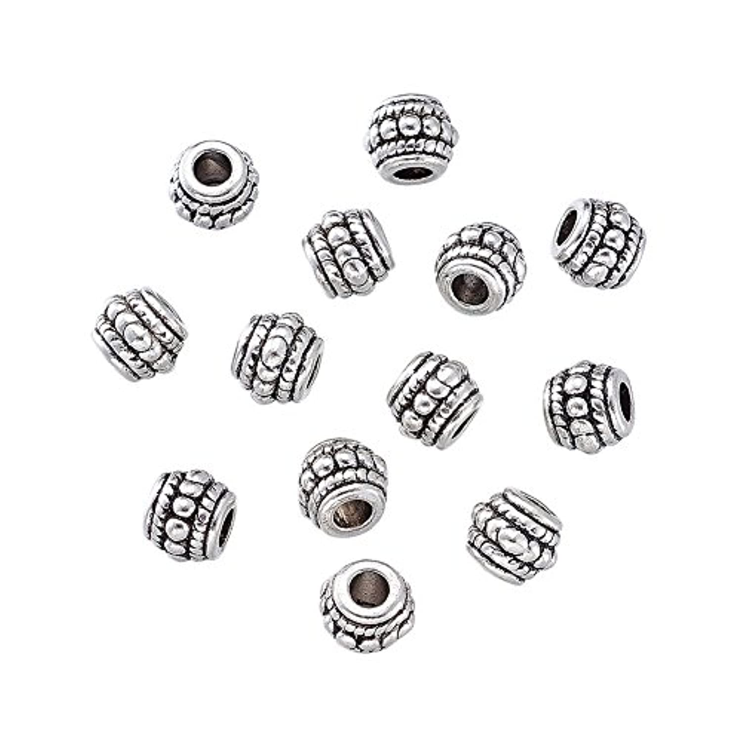 Pandahall 20pcs Tibetan Silver Antique Silver Barrel Beads Charms for Jewelry Makings Lead Free Cadmium Free Nickel Free 8x6.5mm Hole: 3mm