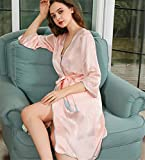 <span class='highlight'><span class='highlight'>BUTTERFLYSILK</span></span> Women's Sexy 100% Mulberry Silk Lace Pyjamas Sling Nightdress And Dressing Gown Set Pure Silk,Pink,M