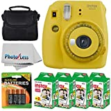 Fujifilm instax mini 9 Instant Film Camera (Yellow with Clear Accents) + Fujifilm Instax Mini Twin Pack Instant Film (80 Shots) + Camera Case + AA Batteries + Accessory Bundle