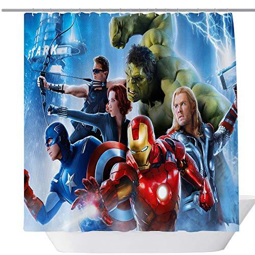 Avengers Movie Shower Curtain,Popular Shower Curtain,Fabric Shower Curtains for Bathroom,Contemporary Bathroom Curtains,Print Waterproof Polyester Shower Curtain,71 x 71in