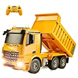 DOUBLE E Remote Control Dump Truck 1/20 Mercedes-Benz Licensed 8 Channel RC Construction Vehicles with Lights and Sounds