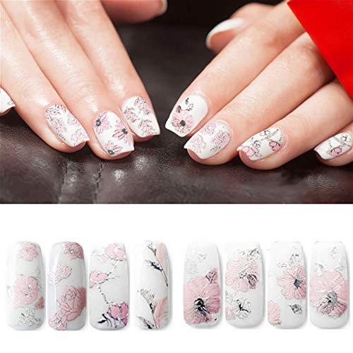 MEIYY Autocollant D'ongle 3D 1 Pc Élégant Blanc Et Rose Nail Art Fleurs Diy Ongles Autocollants Pour Femmes En Relief Beauté Conception Manucure Rose
