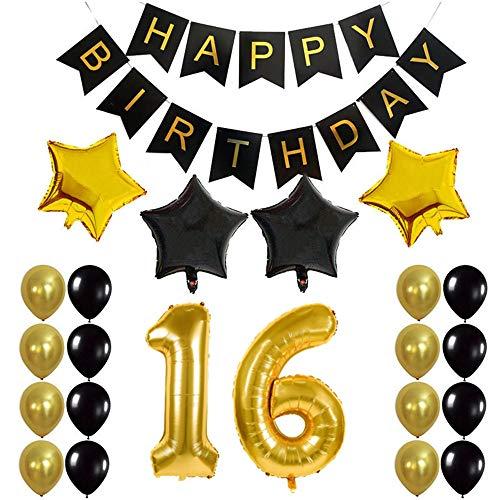 Crazy-M 16th Geburtstag Deko Set Nummer 16 Luftballon Geburtstag Party Deko für Mädchen Junge-2 STK Zahl 16 Aufblasbar Helium Folienballon+1 Happy Birthday Banner + 16 Latexballon + 4 Stern Ballon