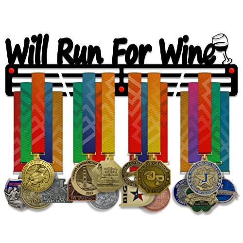 Victory Hangers - Soporte para medallas de vino, 3 barras de acero de 3 mm con soporte de pared y soporte de pared de 18 pulgadas de ancho, con capacidad para 60 medallas o más