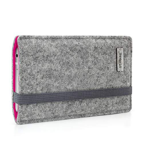 stilbag Handyhülle Finn für Samsung Galaxy A51   Farbe: hellgrau/pink   Smartphone-Tasche aus Filz   Handy Schutzhülle   Handytasche Made in Germany