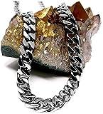 Collana a catena cubana in oro bianco 14 ct, da uomo, 9 mm, 14 carati, taglio diamante pesante con chiusura spessa e 14ct metallo con base placcato oro, cod. NA
