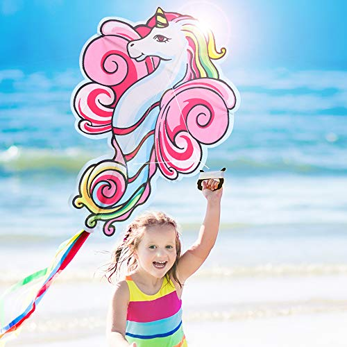 Large Unicorn Kite for Kids and Adults, Easy To Fly 41 Inches Unicorn Shape Diamond Kite for Girls and Boys, Best Easy Flyer for Toddlers and Beginners for Outdoor Play, Beach, Yard, and Park Games
