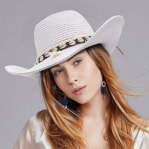 XY-women's hat Elegant Sommer breiter Krempe Cowgirl Sonnenblende Kappen Dame Bohemian Quaste Panama Jazz Sonnenschirm Hut Mode Frauen Stroh Cowboy Hut Stilvoll (Farbe : Weiß, Größe : 56-58)