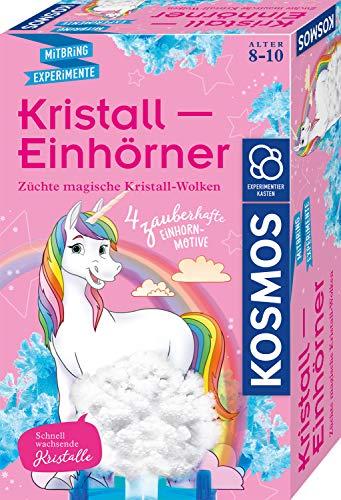 KOSMOS 657864 Kristall-Einhörner, Magische Kristall-Wolken züchten, vier Einhorn-Motive, farbige Kristalle züchten, Experimentierset für Kinder ab 8 Jahre, Kinderzimmer-Deko, Mitbringsel, Geschenk