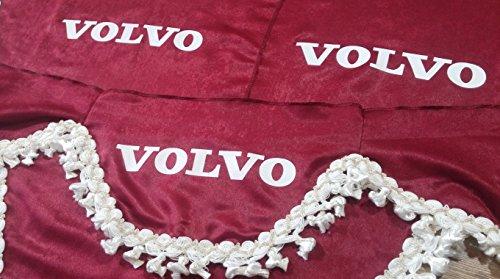 3 Piezas Rojo Cortinas con Borlas Blancas TAMAÑO UNIVERSAL para Camión Accesorios Decoración Tejido de Felpa