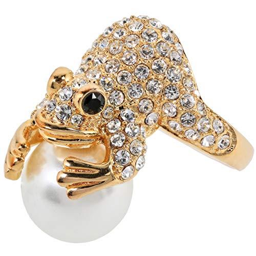 Alfredo Pauly Couture-Schmuck Damen Ring Frosch vergoldet Kristall Imitations-Perle RW16