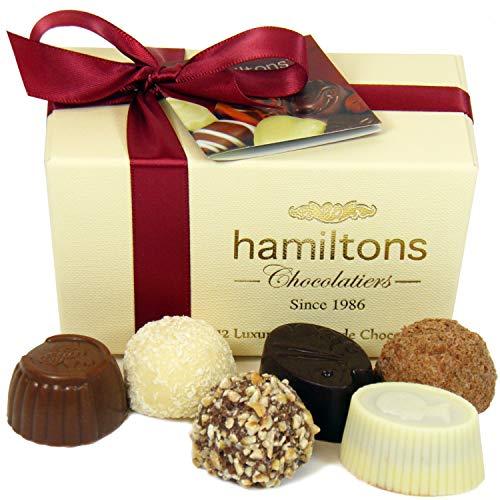 Hamiltons Ivory Luxury Belgian Ballotin 12 Handmade Chocolates Gift Box