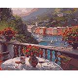 ZXDA Frameless Pintura al óleo por números para Adultos Vino Rosado Imagen por número Decoración del hogar Pintura al óleo Pintada a Mano A8 50x70cm